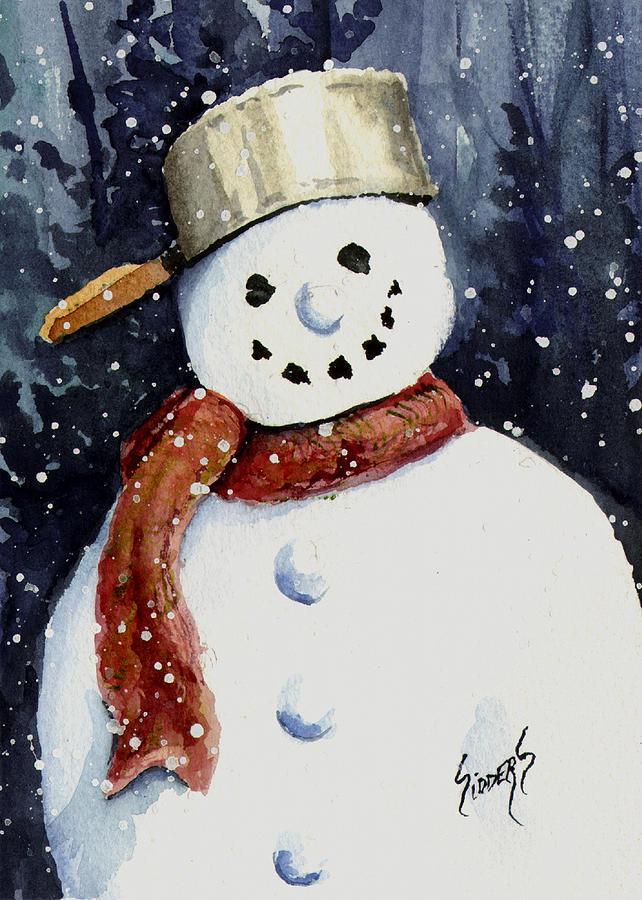 Snow Painting - Dusties Snowman by Sam Sidders