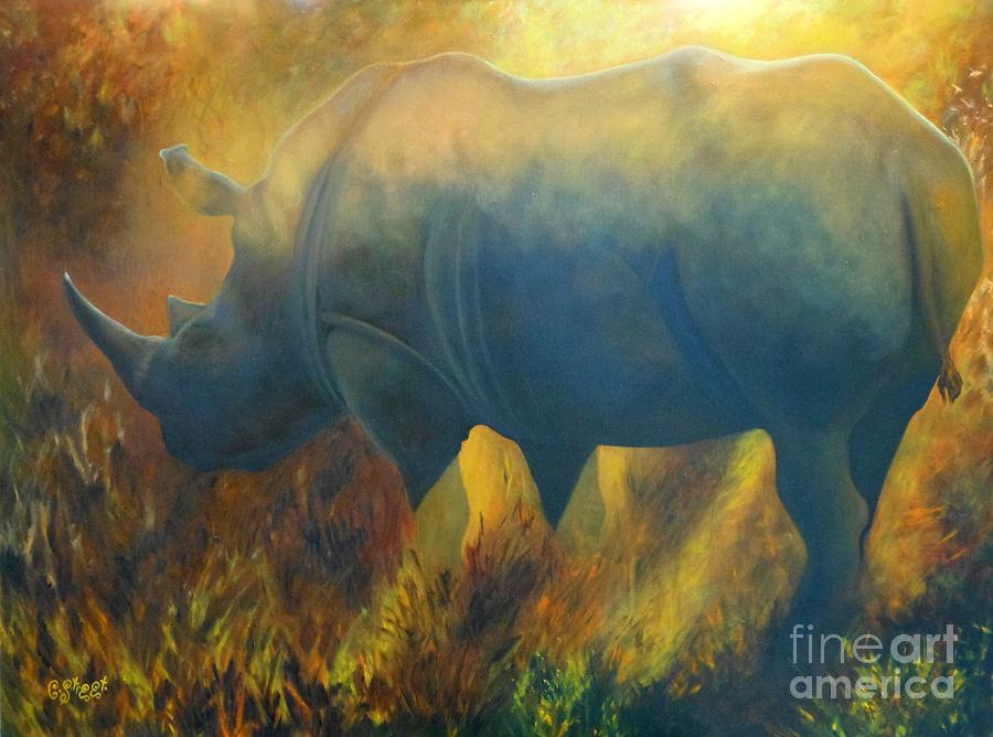 Rhino Painting - Dusty Rhino by Caroline Street
