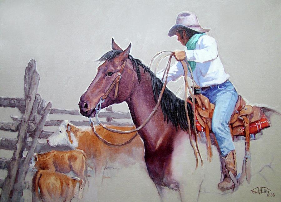 Cowboy Painting - Dusty Work by Randy Follis
