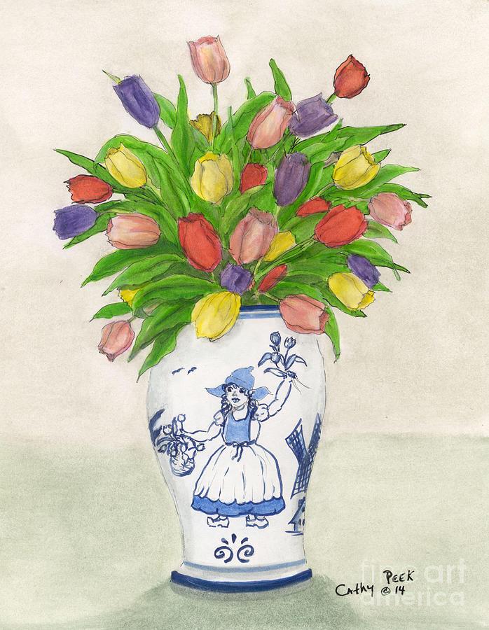 Dutch Girl Tulips Vase Cathy Peek Flower Art Painting By Cathy Peek