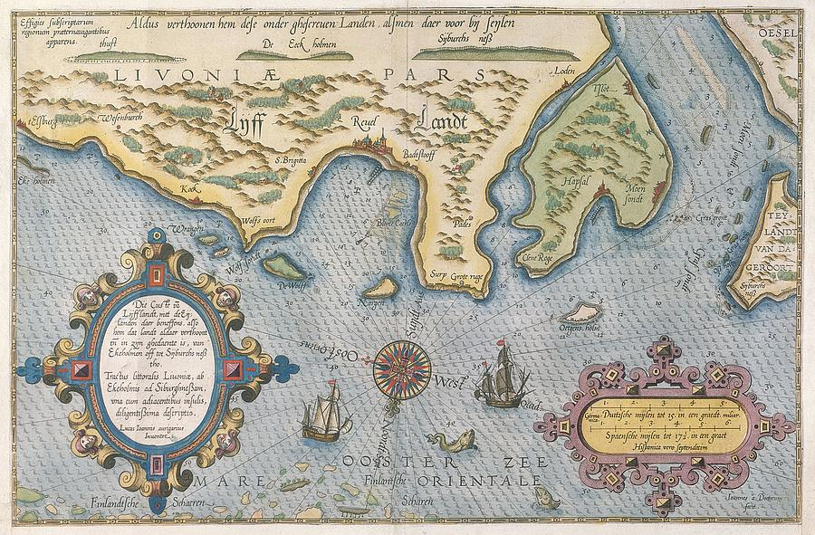 Finland Drawing - Dutch Trade Map Of The Baltic Sea Hand-coloured Engraving by Dutch School
