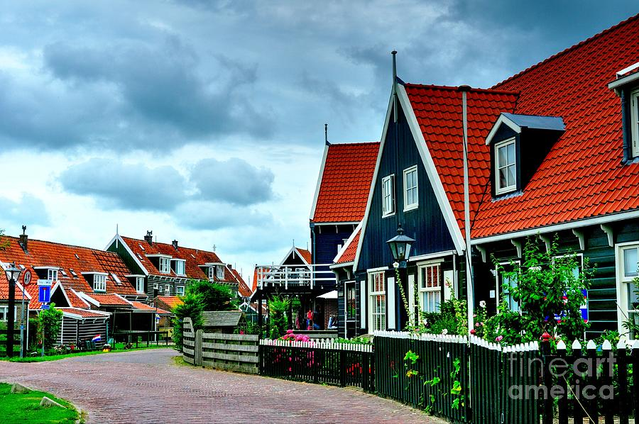 Dutch Village During The Day With Cumulus Clouds Photograph
