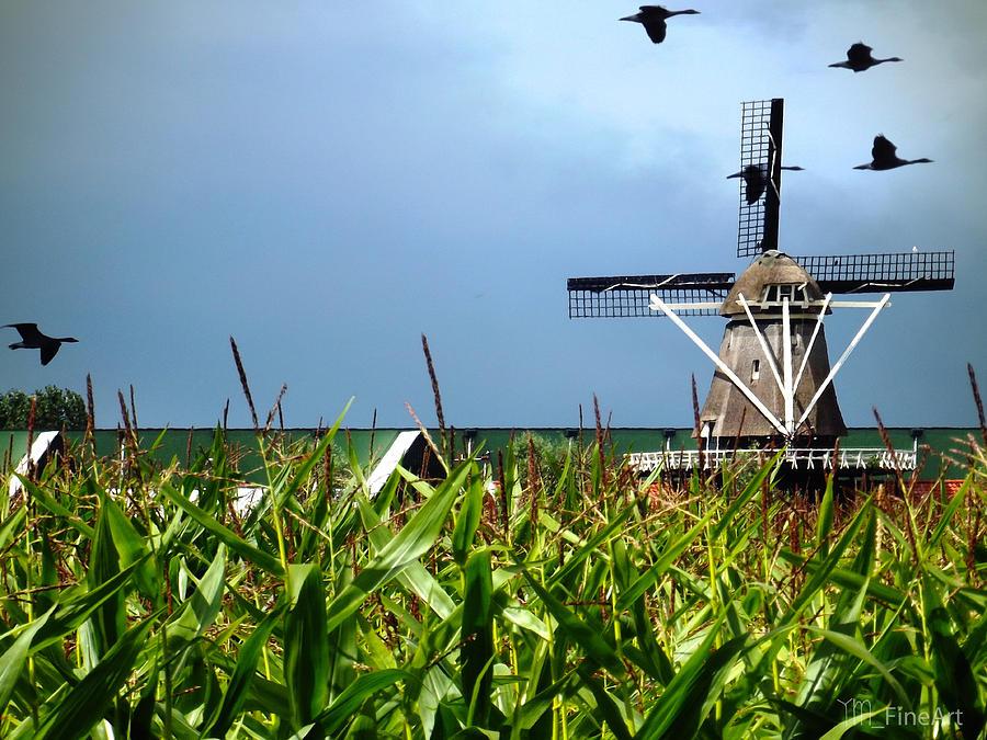 Monet Photograph - Dutch Windmill In Summer by Yvon van der Wijk
