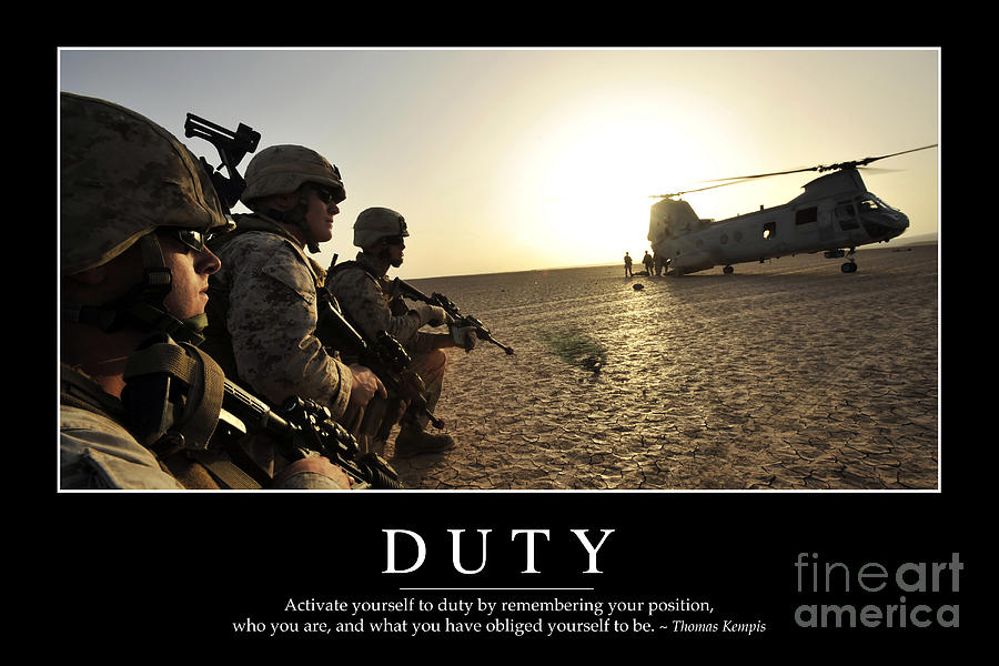 Duty Inspirational Quote Photograph by Stocktrek Images