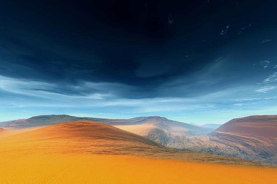 Landscape Digital Art - Dynamic Desert by Jean Paul Thierevere