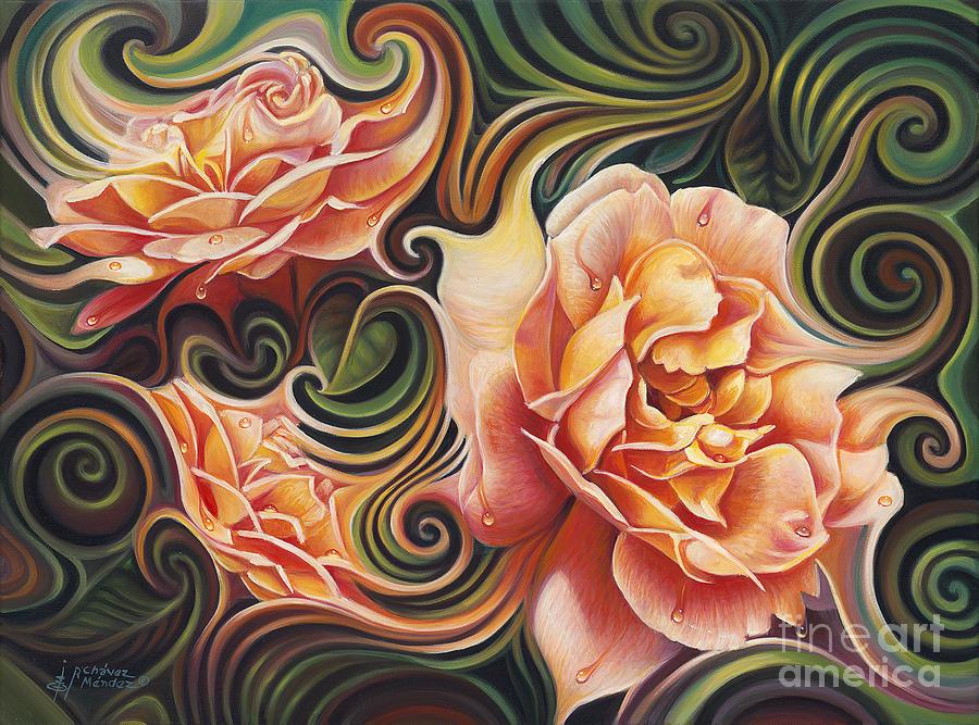 Dynamic Floral V  Roses Painting