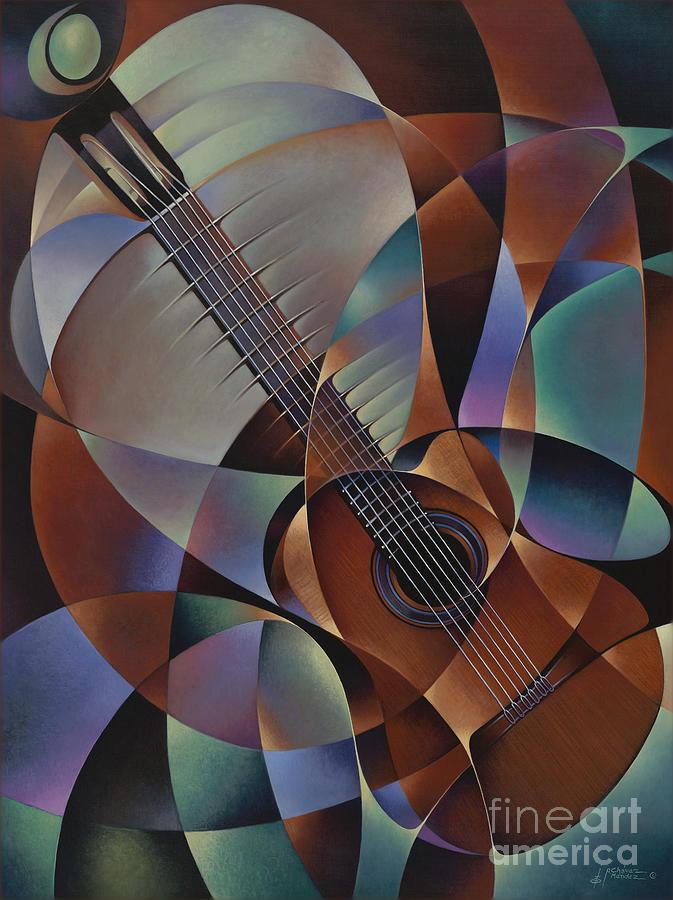 Violin Painting - Dynamic Guitar by Ricardo Chavez-Mendez