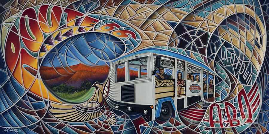 Mosiac Painting - Dynamic Route 66 II by Ricardo Chavez-Mendez