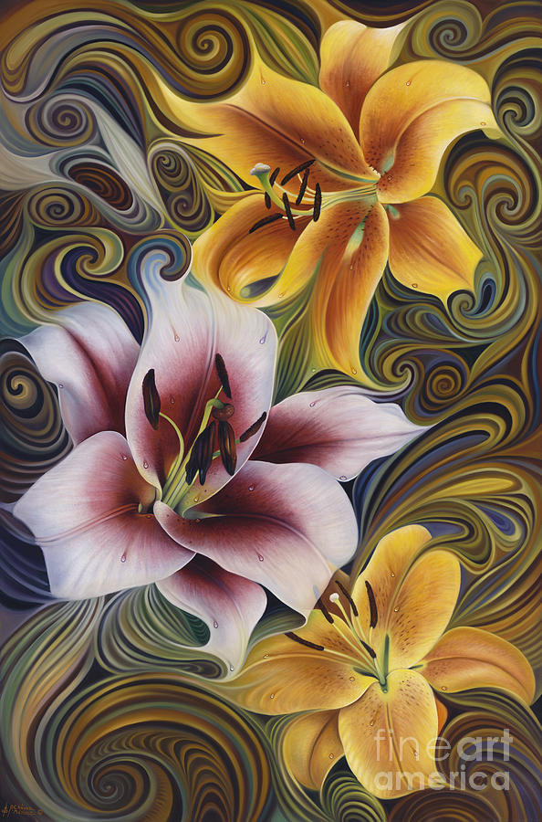 Flowers Painting - Dynamic Triad by Ricardo Chavez-Mendez