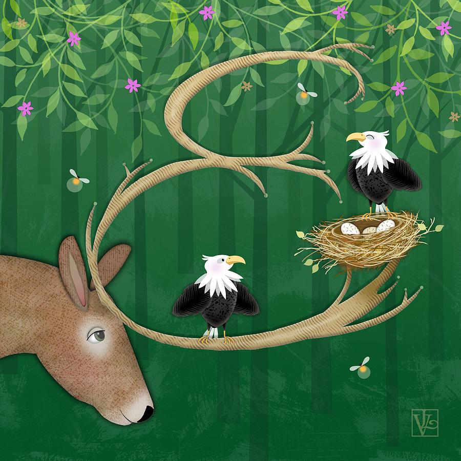 E Is For Elk And Eagles Digital Art By Valerie Drake Lesiak