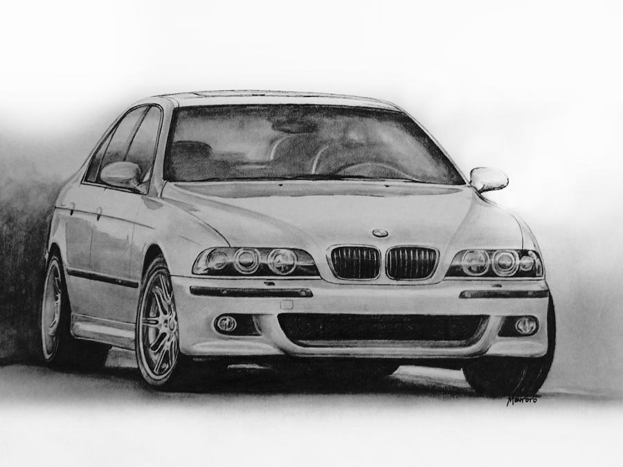 Bmw Drawing - E39 M5 by Indaguis Montoto