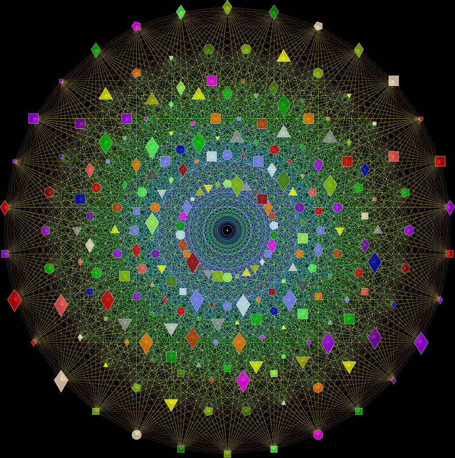 Math Digital Art - E8 Theory Of Everything by J Gregory Moxness