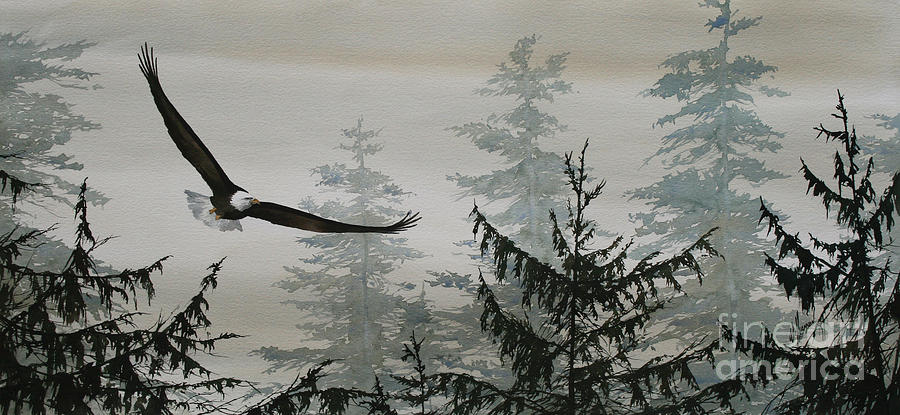 Eagle Fine Art Print Painting - Eagle And Cedars by James Williamson