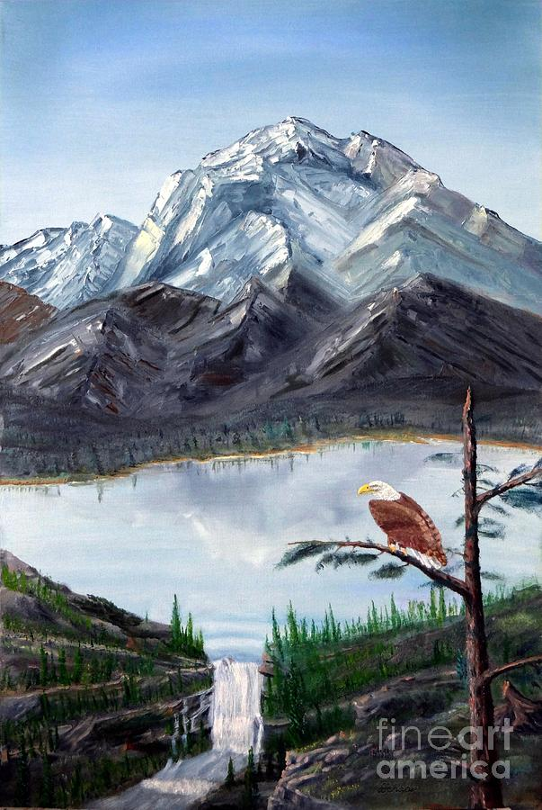 Oil Painting - Eagle At Denali by Stephen Schaps