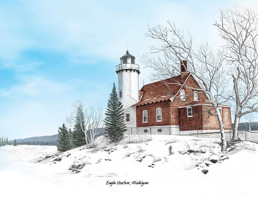 Lighthouse Drawing - Eagle Harbor Lighthouse Titled by Darren Kopecky