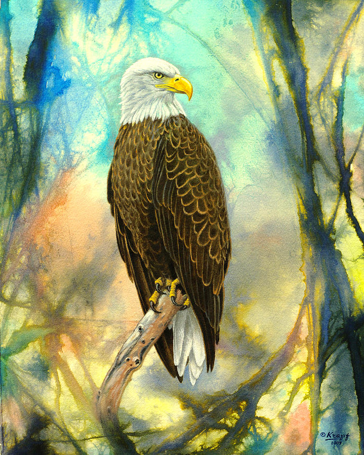 Wildlife Painting - Eagle In Abstract by Paul Krapf
