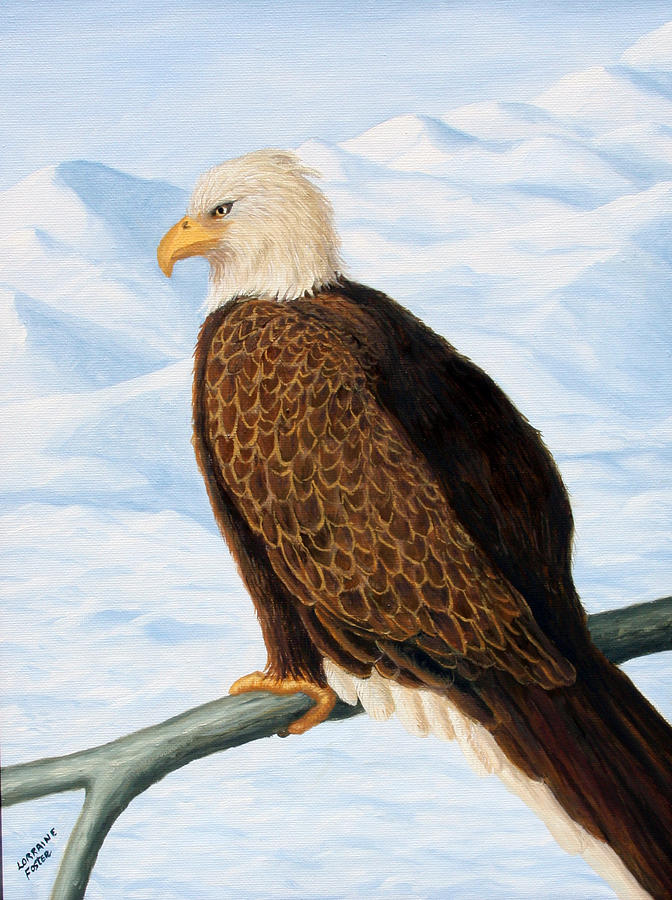 Eagles Painting - Eagle In Alaska by Lorraine Foster