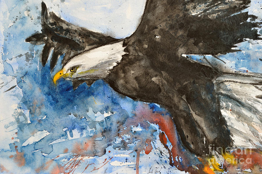 Flying Eagle Painting - Eagle In Flight by Ismeta Gruenwald