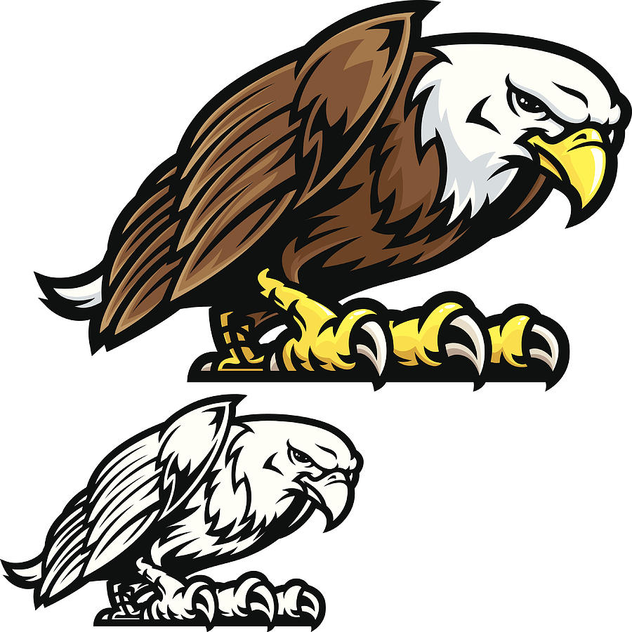 Eagle Mascot Fight Stance Drawing by Daveturton
