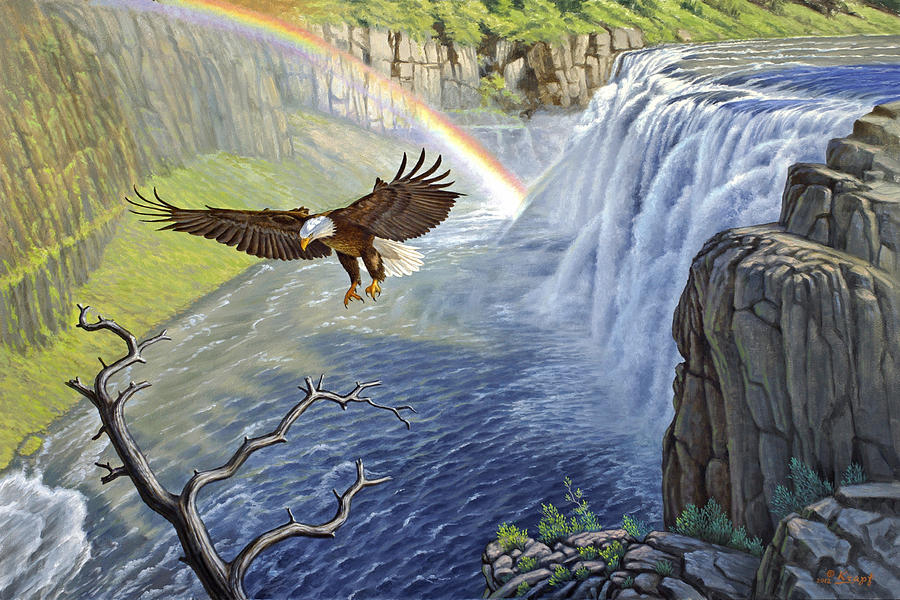 Landscape Painting - Eagle-mesa Falls by Paul Krapf