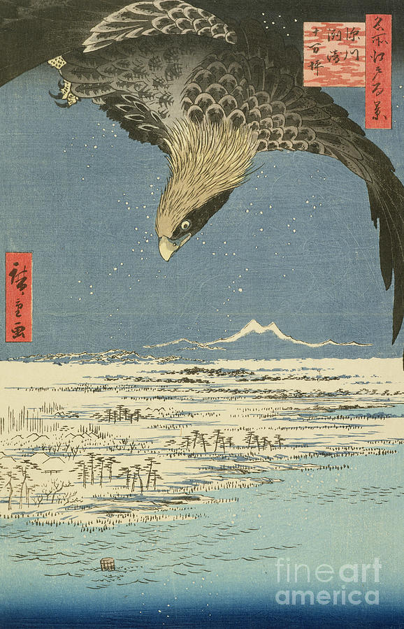 Japan Painting - Eagle Over One Hundred Thousand Acre Plain At Susaki by Hiroshige