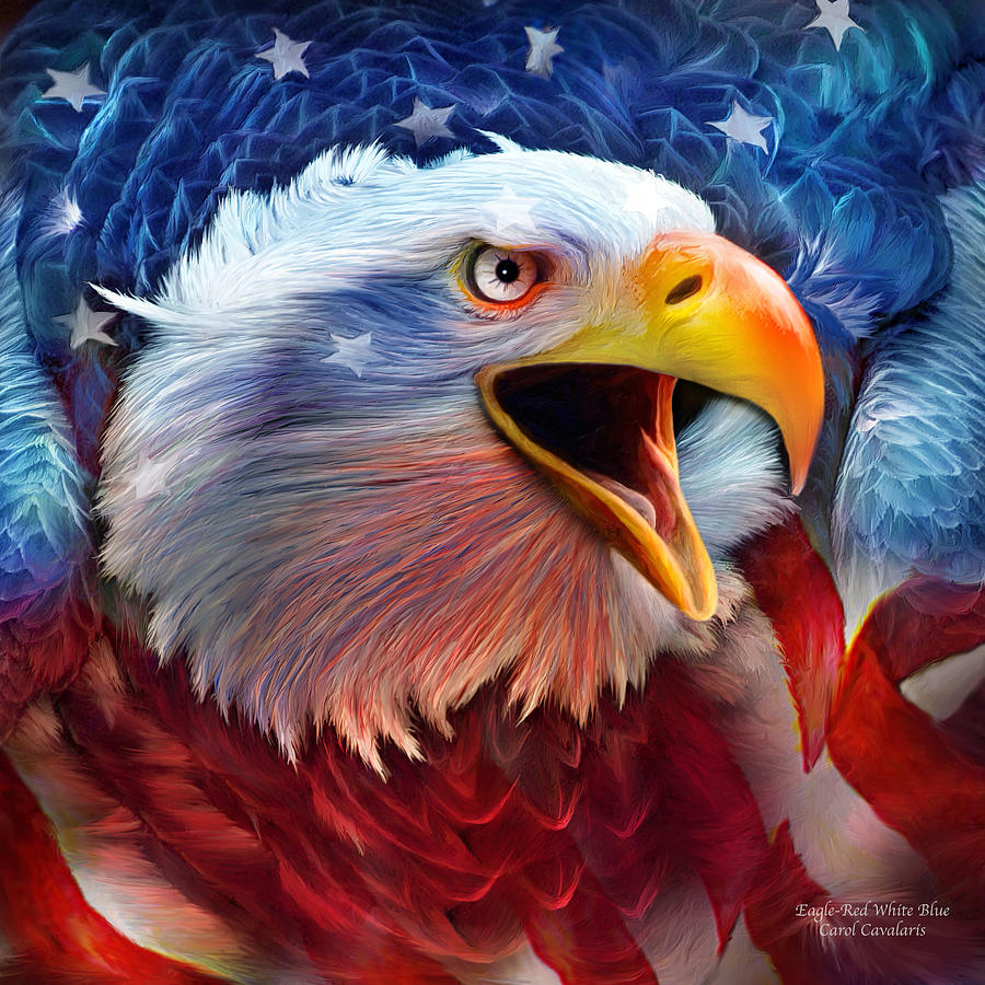Eagle red white blue 2 mixed media by carol cavalaris Fine art america