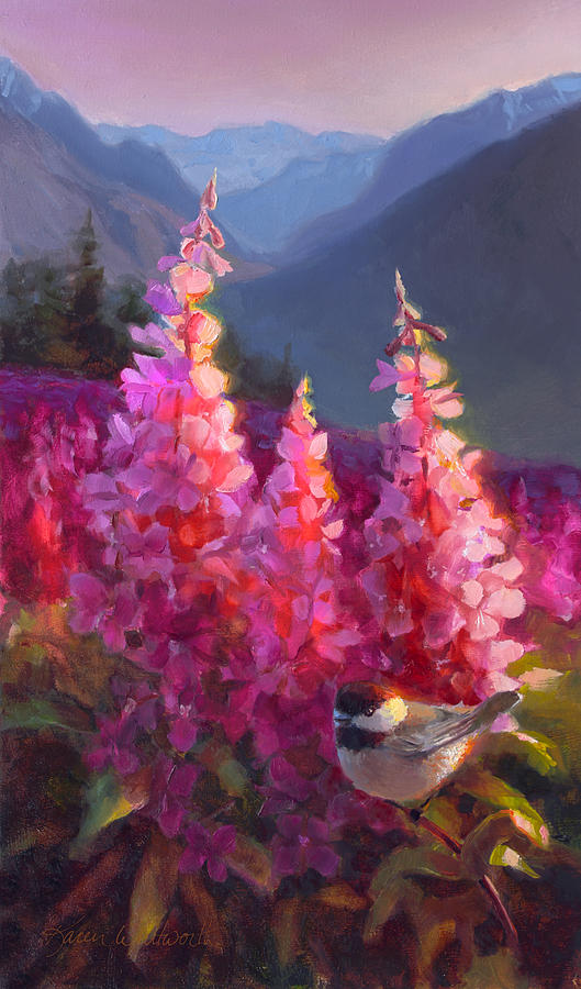 Eagle River Summer Chickadee And Fireweed Alaskan Landscape Painting