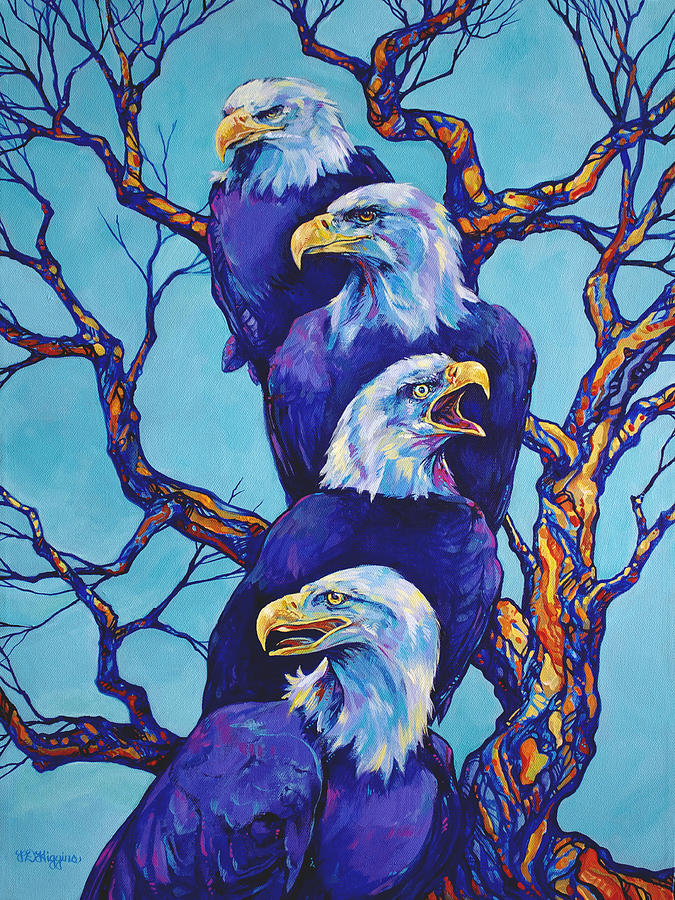 Eagle Painting - Eagle Tree by Derrick Higgins