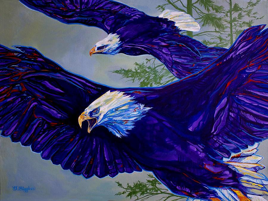Raptor Painting - Eagles  by Derrick Higgins