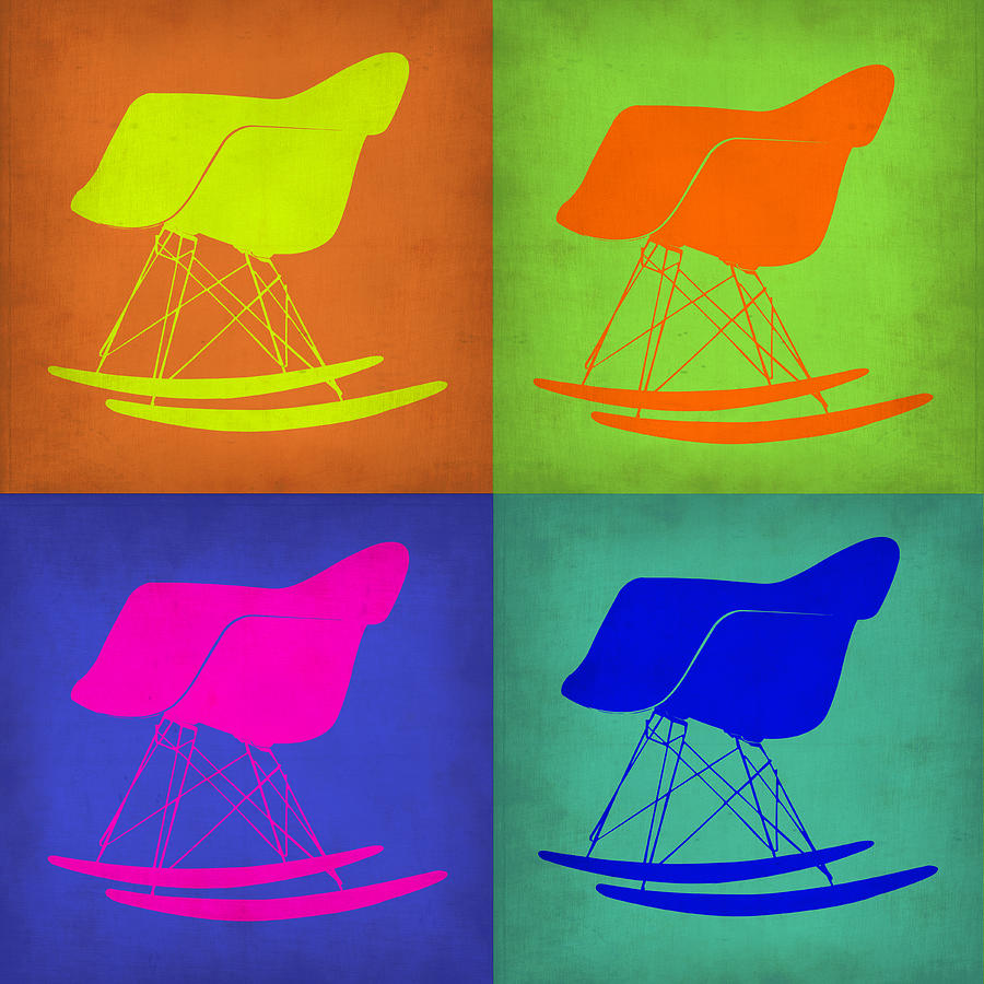 eames rocking chair pop art 1 painting by naxart studio. Black Bedroom Furniture Sets. Home Design Ideas
