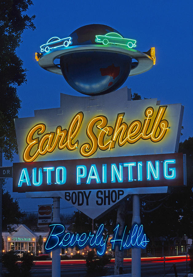 Neon Sign Photograph - Earl Scheib Neon Bev Hills-1 by Barbara Filet