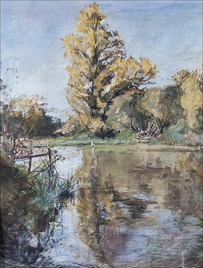 Hampshire Painting - Early Autumn On The River Test by Caroline Hervey-Bathurst