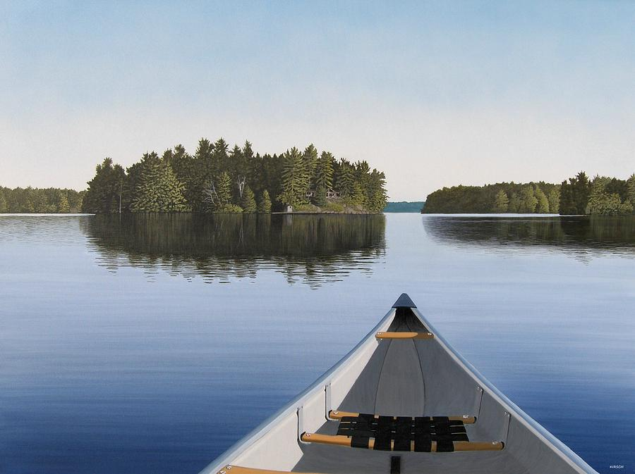Canoe Painting - Early Evening Paddle aka Paddle Muskoka by Kenneth M Kirsch