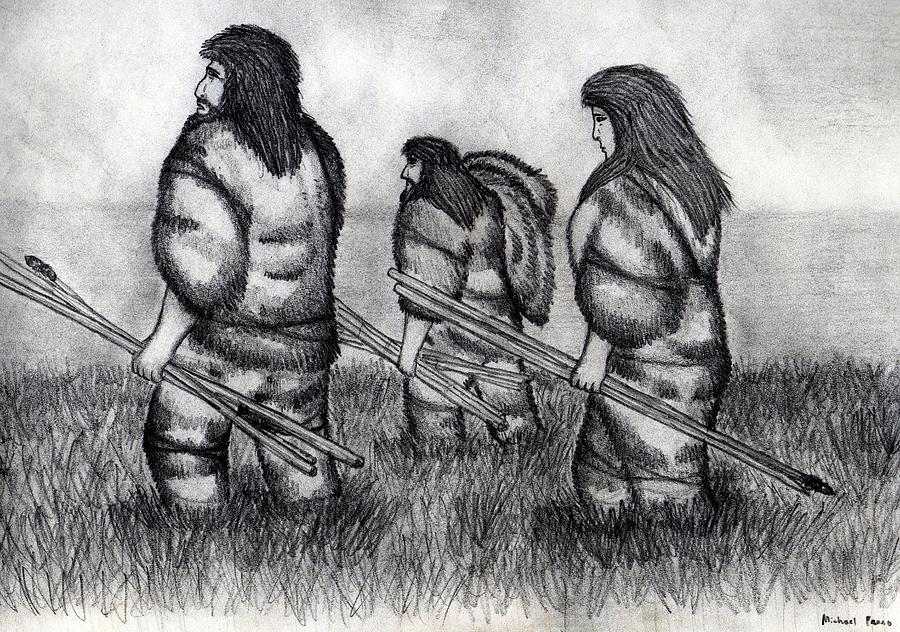 Early Hunters Drawing