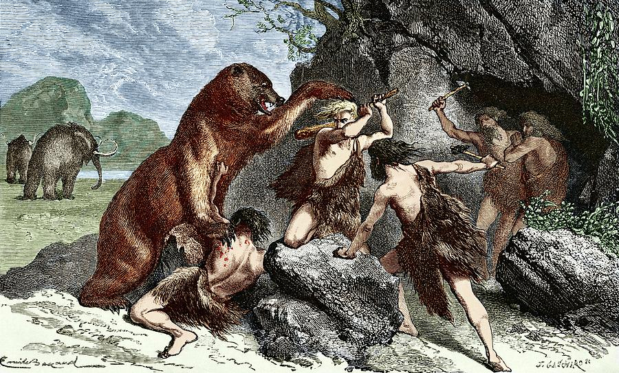 Cave Bear Photograph - Early Humans Using Weapons by Sheila Terry