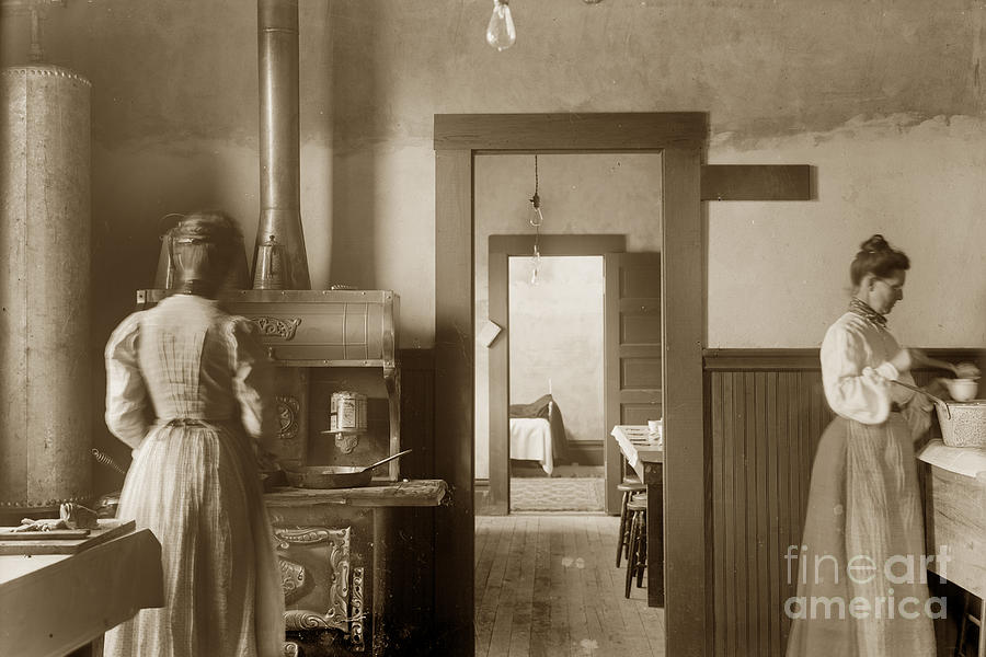 Early Kitchen With A Wood Kitchen Stove Circa 1906