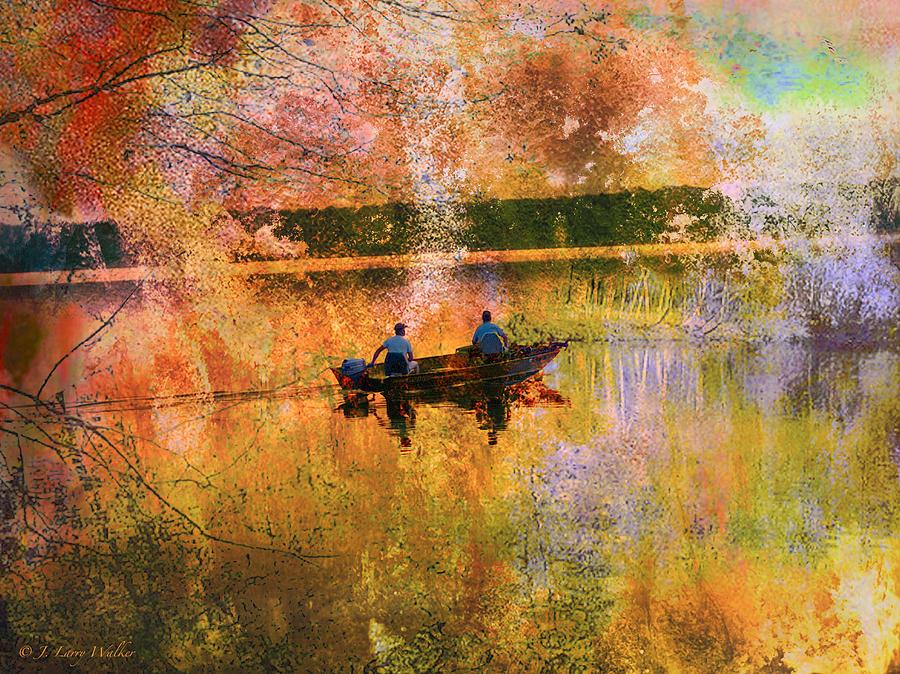 J Larry Walker Digital Art - Early Morning Fishermen Looking For That Perfect Spot by J Larry Walker