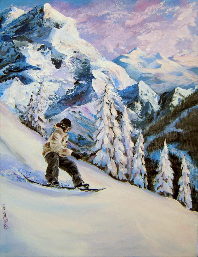 Snowboard Painting - Early Morning Fresh Snow by Mona Davis