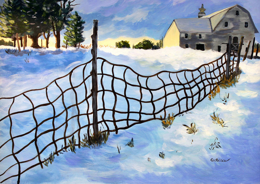 Fence Painting - Early Morning In Winter by Jane Croteau