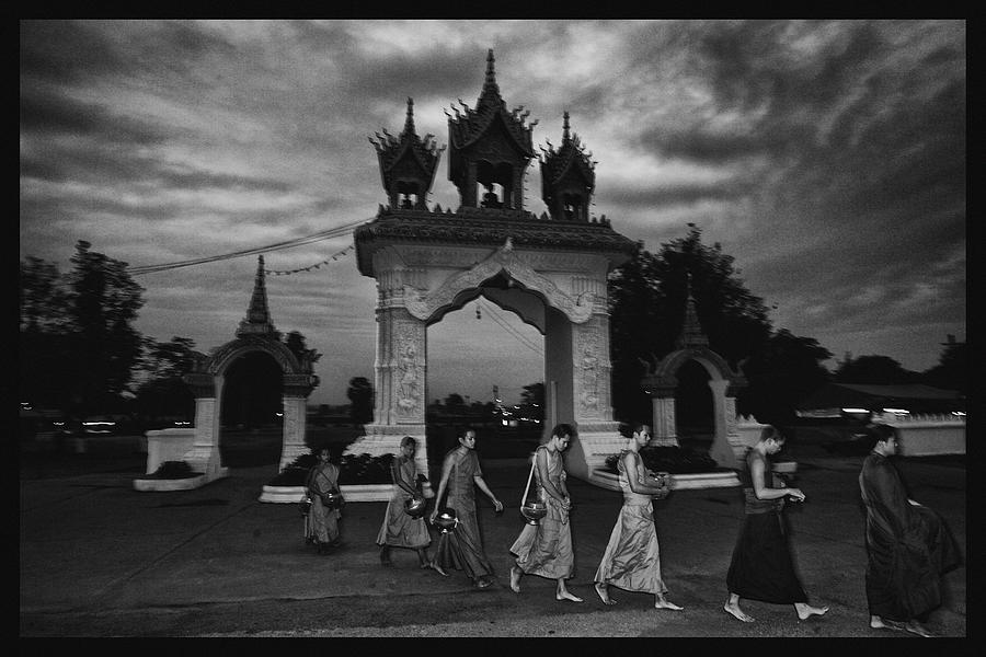 Thailand Photograph - Early Morning Monks by David Longstreath