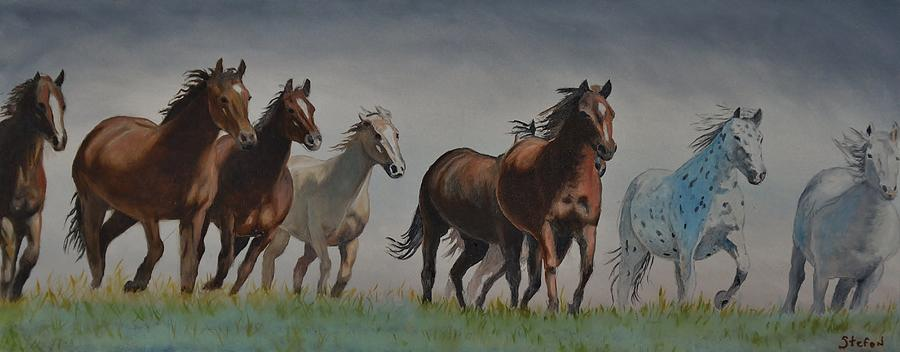 Horses Painting - Early Morning Run by Stefon Marc Brown