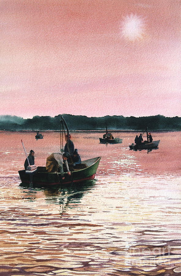 Sunrise Painting - Early Morning Scallopers by Karol Wyckoff