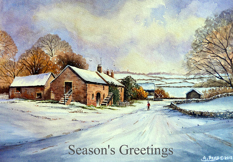 Greeting Cards Painting - Early Morning Snow Christmas Cards by Andrew Read