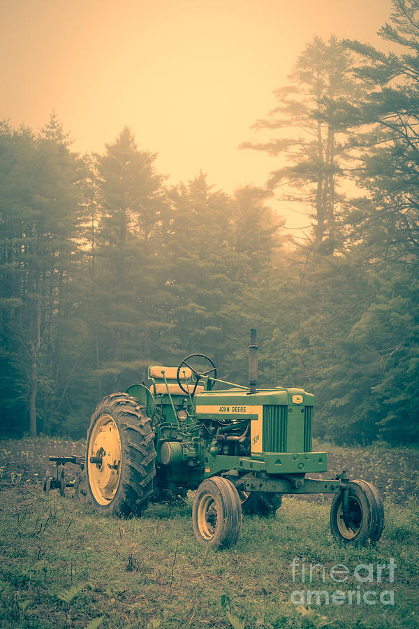 Tractor Photograph - Early Morning Tractor In Farm Field by Edward Fielding