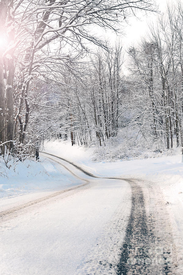 Winter Photograph - Early Morning Winter Road by Sharon Dominick