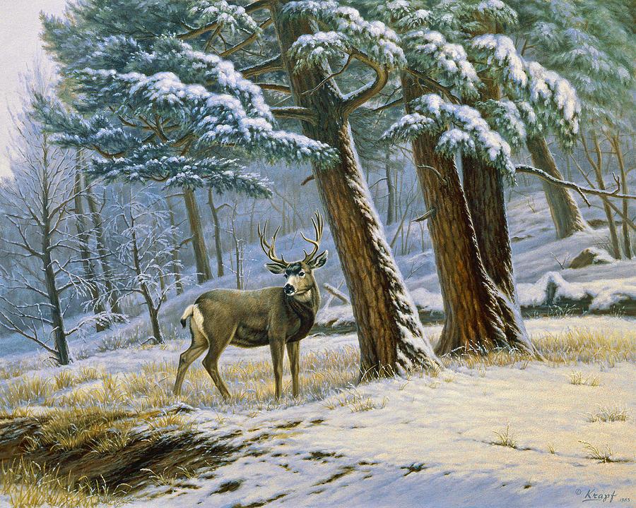 Landscape Painting - Early Snow- Mule Deer by Paul Krapf