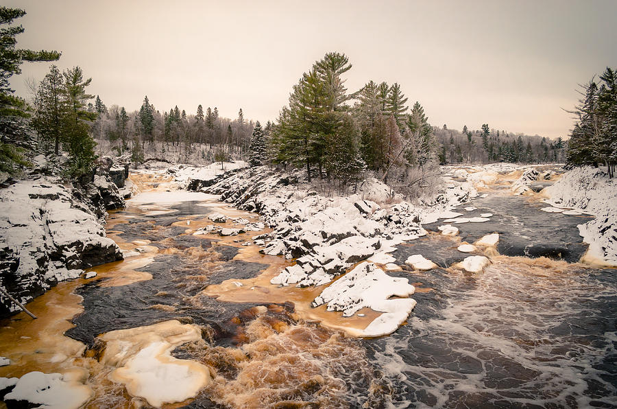 Cloquet Minnesota Photograph - Early Snowfall On The Saint Louis River by Ever-Curious Photography