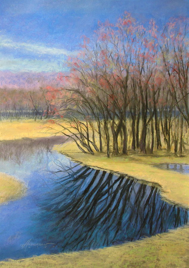 Landscape Pastel - Early Spring At Catfish Corner by Sherri Anderson