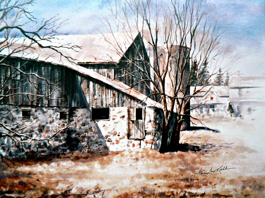 Farmyard Painting - Early Spring by Hanne Lore Koehler