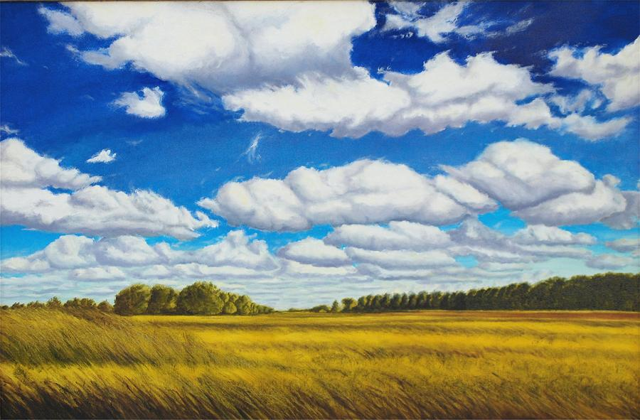 Wheat Painting - Early Summer Clouds by Leonard Heid